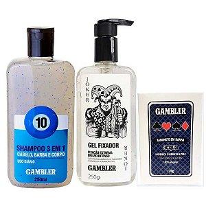 Kit Shampoo Bola 10 250ml + Gel Fixador 250g + Sabonete Acqua