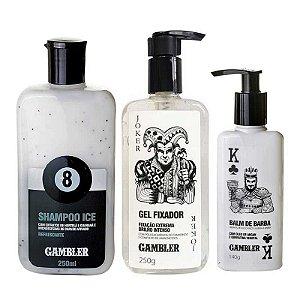 Kit Shampoo Ice Bola 8 250ml + Gel Fixador 250g + Balm de Barba 140g