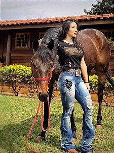 Calça Flare Rosa Negra