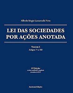 Lei das Sociedades por Ações Anotada autor Alfredo Lazzareschi
