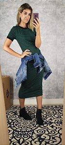 vestido listrado canelado kl iv