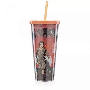 Copo com Canudo 650ml Star Wars - Força Rey