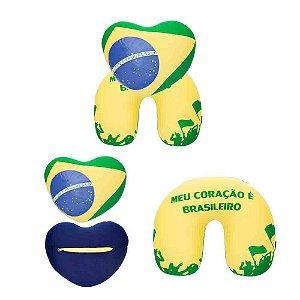 Almofada de Pescoço Meu Coração é Brasileiro 2 em 1