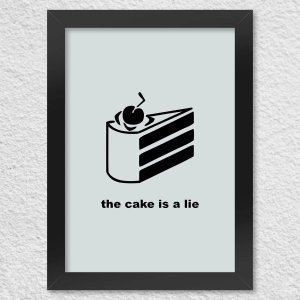 Quadro com Moldura The Cake is a Lie