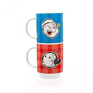 Conjunto de Canecas Popeye e Olivia