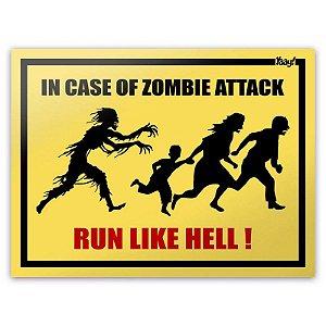 Placa Decorativa In Case of Zombie Attack