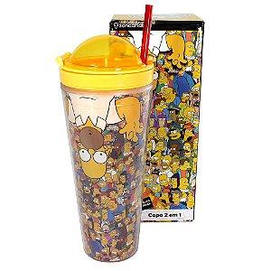 Copo 2 em 1 com Canudo 650ml Simpsons - Homer Surpresa