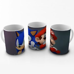 Caneca Mario & Sonic