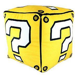 Almofada Fibra Veludo Cubo Super Mario - Bloco Interrogação