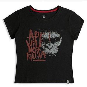Camisa Feminina Planeta dos Macacos - Ape Will Not Kill Ape