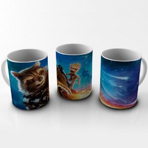 Caneca 300ml Rocket Raccoon e Baby Groot