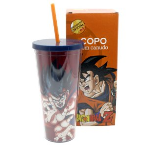 Copo com Canudo 650ml Dragon Ball Z - Goku
