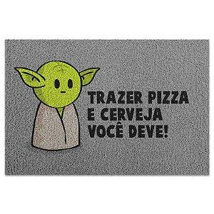 Capacho Vinil Star Wars - Yoda Trazer Pizza e Cerveja você deve