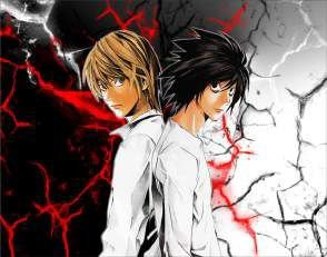 Quadro de Metal 26x19 Death Note - Kira e L