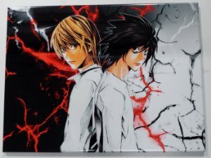Placa de Metal 26x19 Death Note - Kira e L
