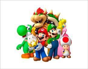 Quadro de Metal 26x19 Super Mario - Turma