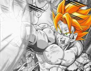 Quadro de Metal 26x19 Dragon Ball Z - Goku Super Saiyajin