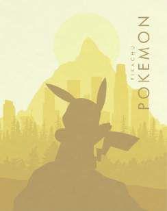 Quadro de Metal 26x19 Pokemon - Pikachu