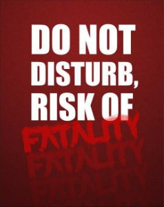 Quadro de Metal 26x19 Mortal Kombat - Do Not Disturb, Risk Of Fatality