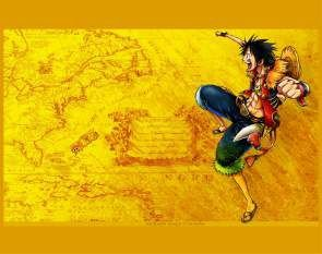 Quadro de Metal 26x19 One Piece - Luffy Mapa