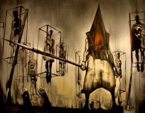 Quadro de Metal 26x19 Silent Hill - Piramid Head