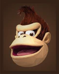 Quadro de Metal 26x19 Donkey Kong Face