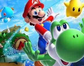 Quadro de Metal 26x19 Mario Galáxy - Mario e Yoshi