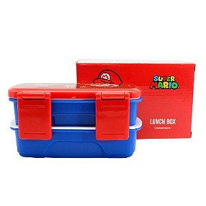 Lunch Box c/ 2 Compartimentos e Talheres 750ml Super Mario - Salvando Princesa