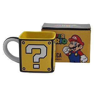 Caneca Cubo 300ml Super Mario - Bloco Interrogação