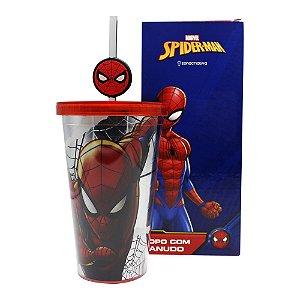 Copo com Canudo 500ml c/ Pingente Marvel - Homem-Aranha