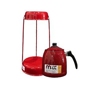 Jogo Suporte De Coador Com Bule Vermelho 36 CM Max Alumínio