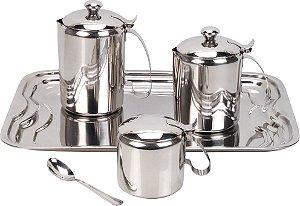 Jogo de Chá e Café de Aço Inoxidável 5 Peças