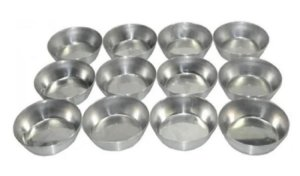 Forma N° 3  6,5 x 2,5 cm em Alumínio para Empadas  pacote com 12 Caparroz
