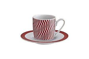 Jogo de Xícaras de Café 90ml - 12 peças - wave hauskraft - Vermelho