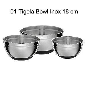 Tigela bowl Inox Escovado - 18 cm - com antiderrapante - GP INOX