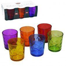 Jogo 6 copos de Vidro Colorido Bari 250 ML - Clink