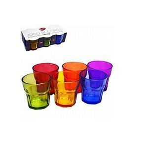Jogo 6 copos de Vidro Colorido Amalfi 250 ML - Clink