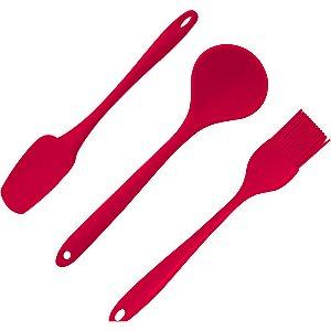 Jogo de Utensilios Gourmet Silicone - Vermelho - Gp Inox