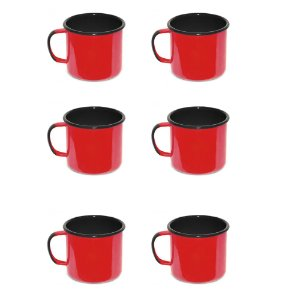 Jogo com 6 Canecas Esmaltadas - Vermelha - Ewel