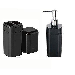 Kit Porta Escova com Tampa + Porta Sabonete Liquido - Coza - Preto