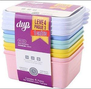 Jogo de Potes Hermético Cores Sortidas 500 ml Essencial Kit Leve 4 e Pague 3 Dup