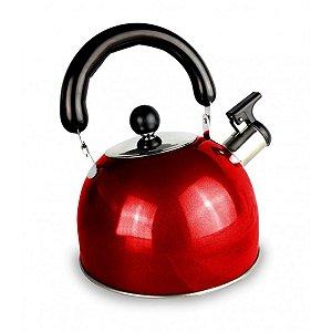 Chaleira Vermelha 2 litros em Inox Basic Collor Kehome