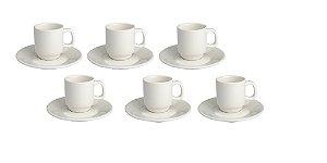 Conjunto com 6 Pires + 6 Xicaras de café empilhavel 80ml Porcelana GP INOX