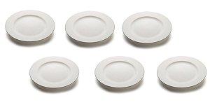 kit com 6 Pratos raso com aba 26cm Porcelana GP INOX