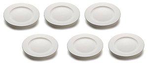 Kit com 6 Pratos sobremesa com aba 19cm Porcelana GP INOX