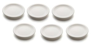 Kit com 6 Pratos sobremesa sem aba 19cm Porcelana GP INOX