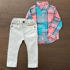 Calça Zara + Camisa importada - 9 a 12 meses
