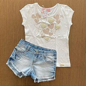 Conjunto Bermuda jeans molinho + Básica Pituchinhus - 6 a 8 anos