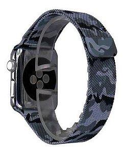 Pulseira Milanese Aço Metal Apple Watch 38mm 40mm Camuflado