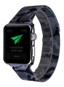 Pulseira Milanese Aço Metal Apple Watch 38mm 40mm Camuflado